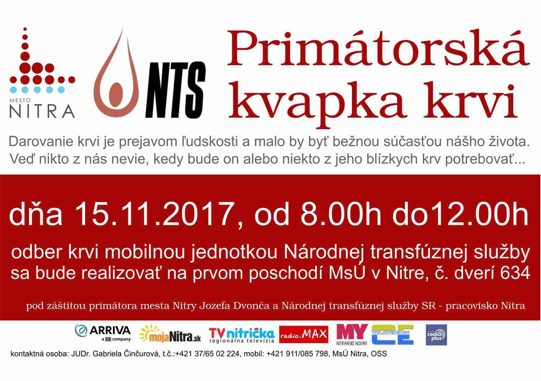 cc0811cb88586 Primátorská kvapka krvi - Kam v meste | moja Nitra